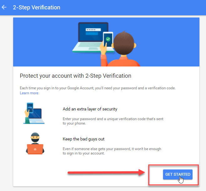 How to set up, 2 Step Verification step 4.