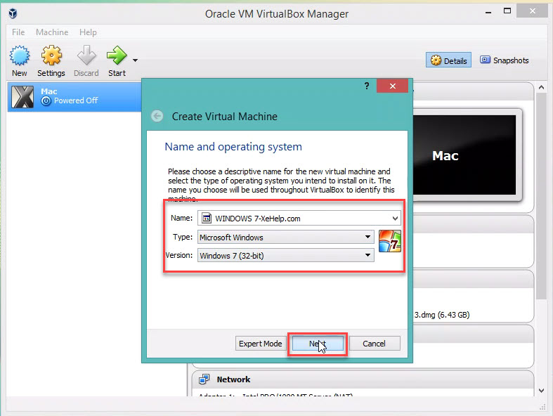 Set up VM VirtualBox for windows 7 Step 2.