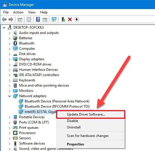 Update Driver Software -Blue Screen Windows 10