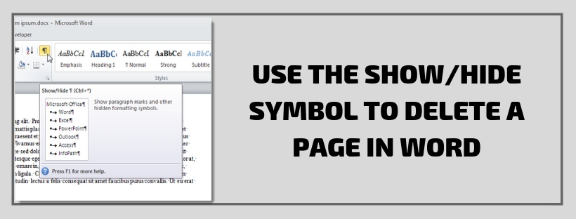 Use the ShowHide SymbolTo Delete A Page In Word